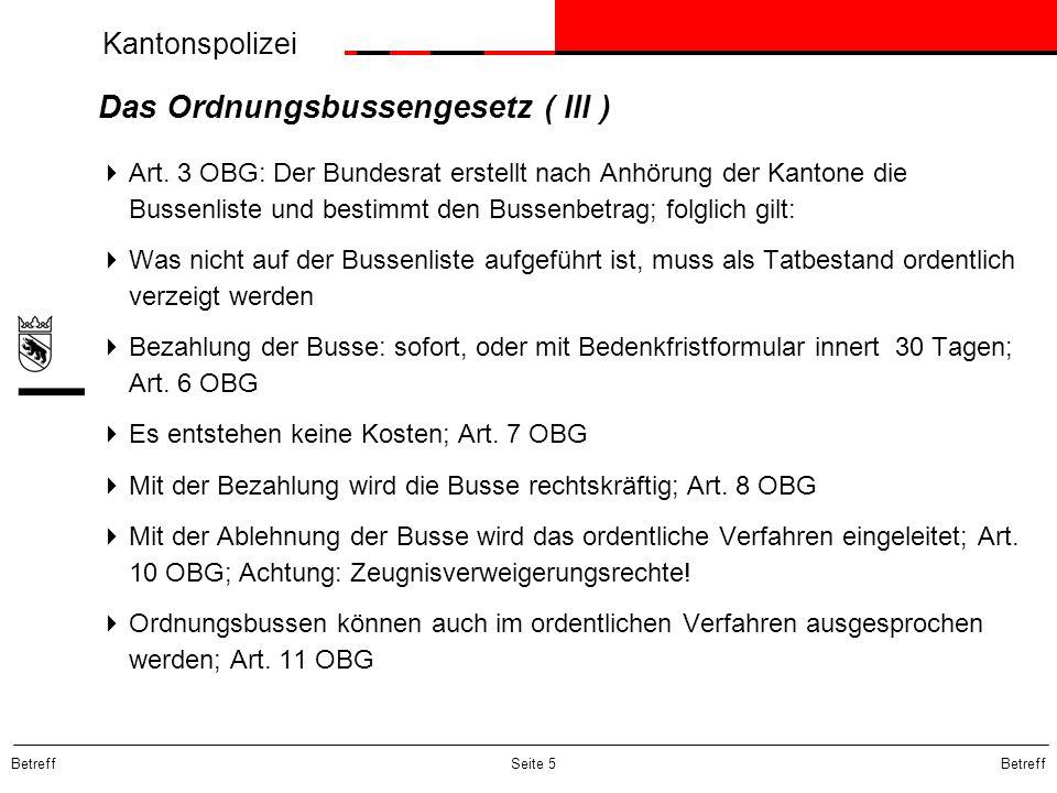 Das Ordnungsbussengesetz ( III )