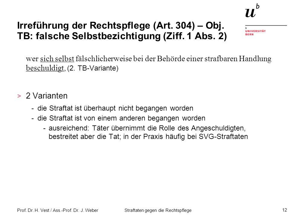 Irreführung der Rechtspflege (Art. 304) – Obj