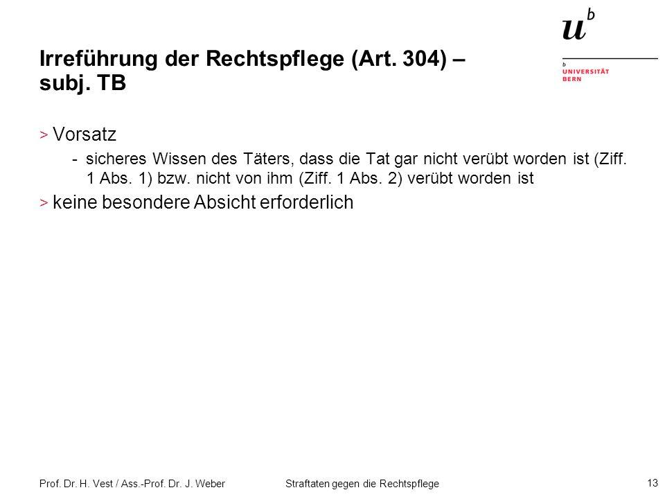 Irreführung der Rechtspflege (Art. 304) – subj. TB