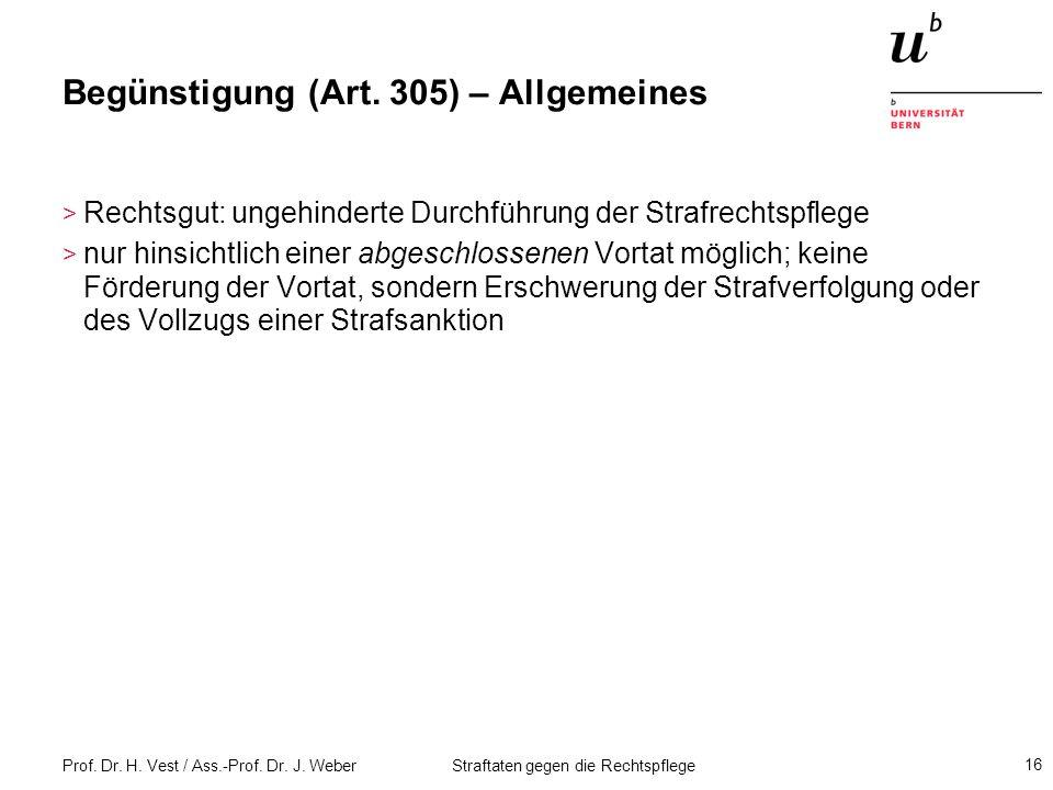 Begünstigung (Art. 305) – Allgemeines