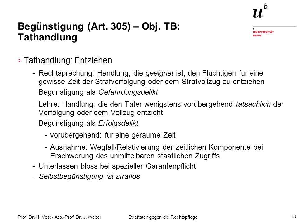 Begünstigung (Art. 305) – Obj. TB: Tathandlung