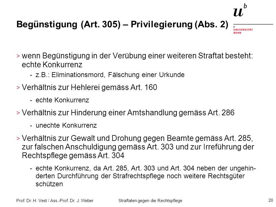 Begünstigung (Art. 305) – Privilegierung (Abs. 2)