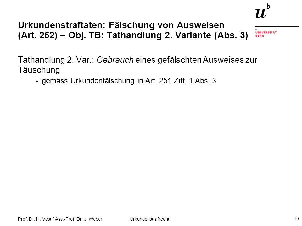 Urkundenstraftaten: Fälschung von Ausweisen (Art. 252) – Obj