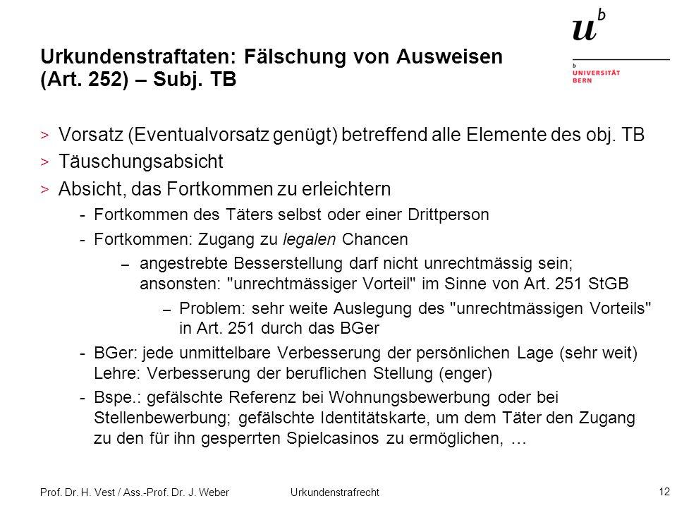 Urkundenstraftaten: Fälschung von Ausweisen (Art. 252) – Subj. TB