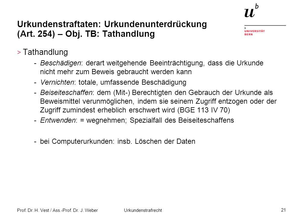 Urkundenstraftaten: Urkundenunterdrückung (Art. 254) – Obj
