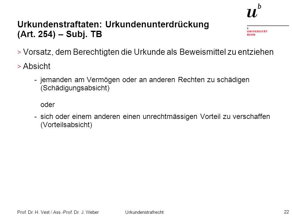 Urkundenstraftaten: Urkundenunterdrückung (Art. 254) – Subj. TB