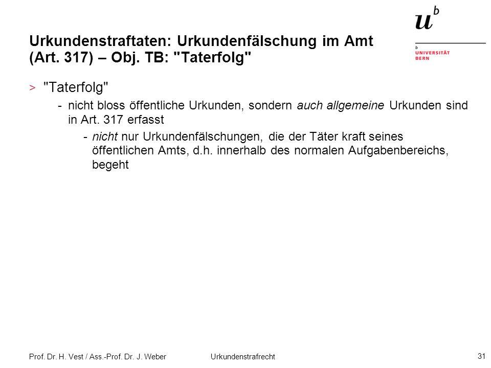 Urkundenstraftaten: Urkundenfälschung im Amt (Art. 317) – Obj