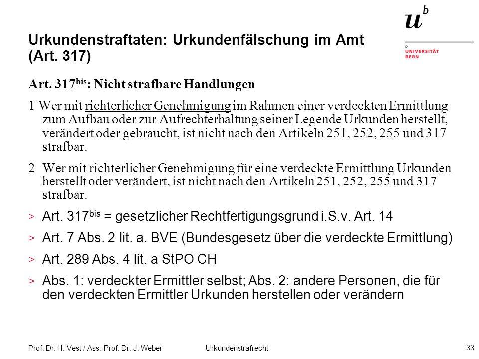 Urkundenstraftaten: Urkundenfälschung im Amt (Art. 317)