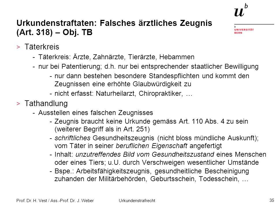 Urkundenstraftaten: Falsches ärztliches Zeugnis (Art. 318) – Obj. TB
