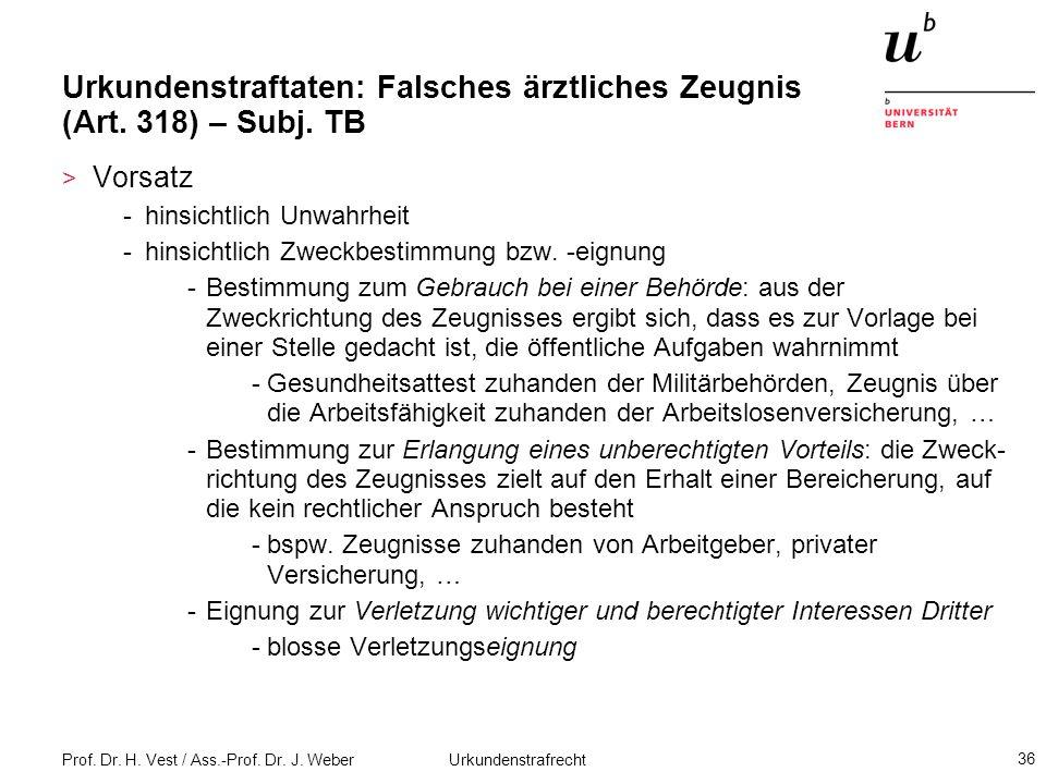 Urkundenstraftaten: Falsches ärztliches Zeugnis (Art. 318) – Subj. TB