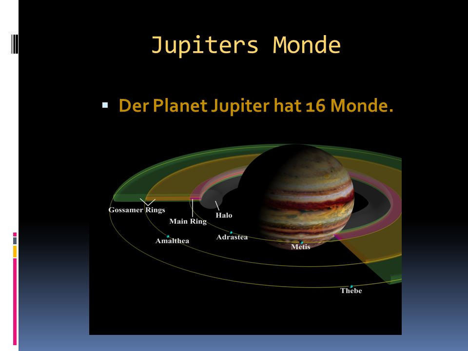 Der Planet Jupiter hat 16 Monde.