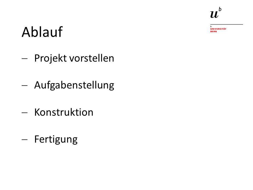 Ablauf Projekt vorstellen Aufgabenstellung Konstruktion Fertigung