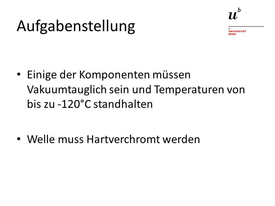 Aufgabenstellung Einige der Komponenten müssen Vakuumtauglich sein und Temperaturen von bis zu -120°C standhalten.