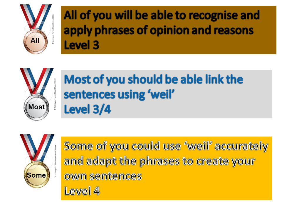 Most of you should be able link the sentences using 'weil' Level 3/4