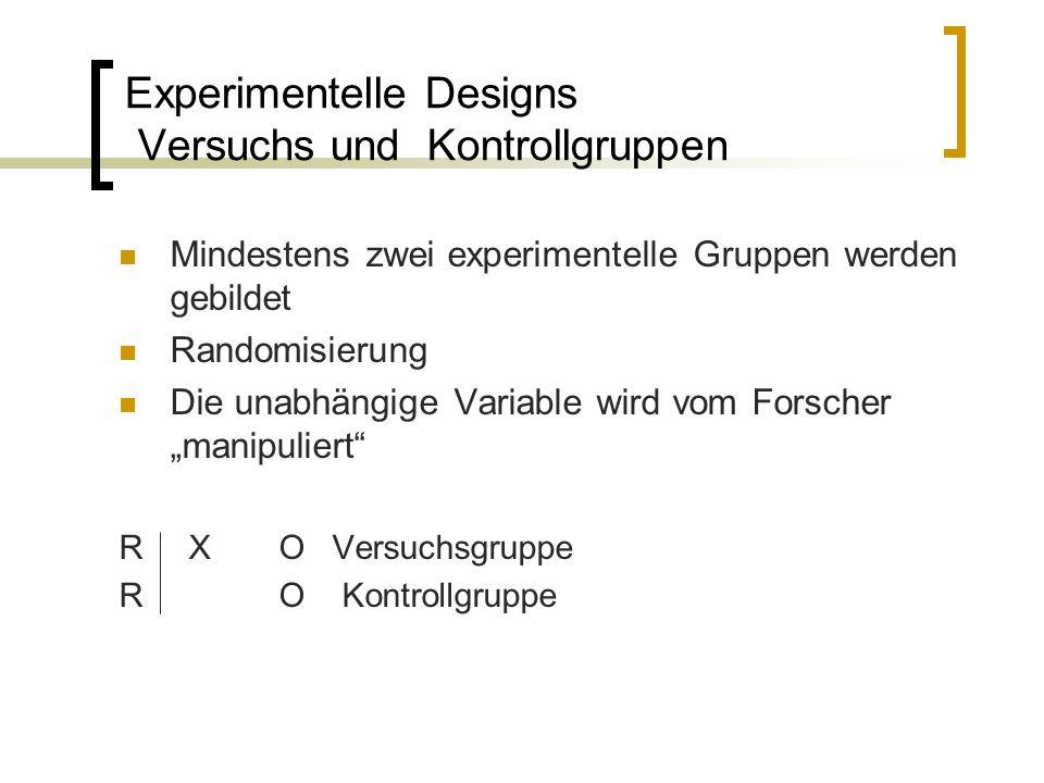 Experimentelle Designs Versuchs und Kontrollgruppen