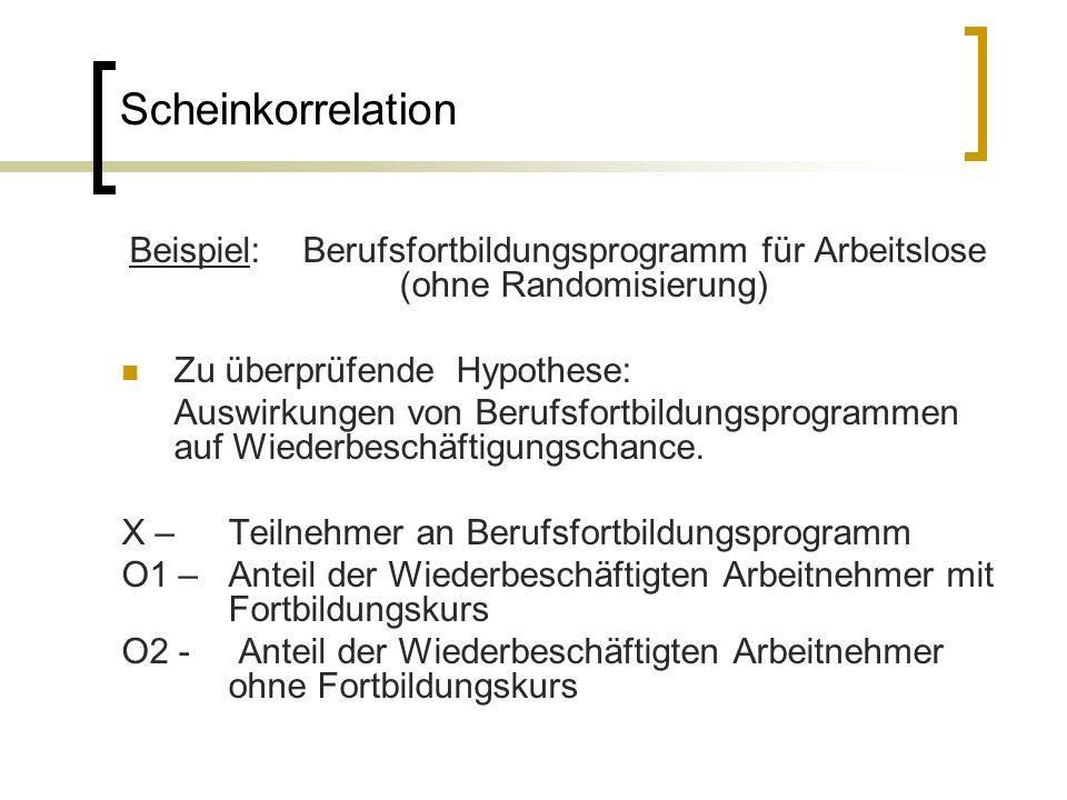 Scheinkorrelation Beispiel: Berufsfortbildungsprogramm für Arbeitslose (ohne Randomisierung) Zu überprüfende Hypothese:
