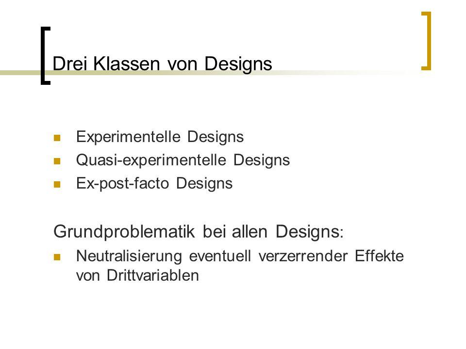 Drei Klassen von Designs