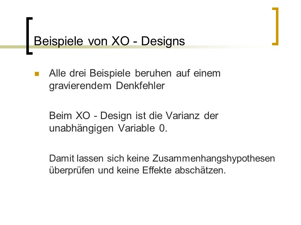 Beispiele von XO - Designs