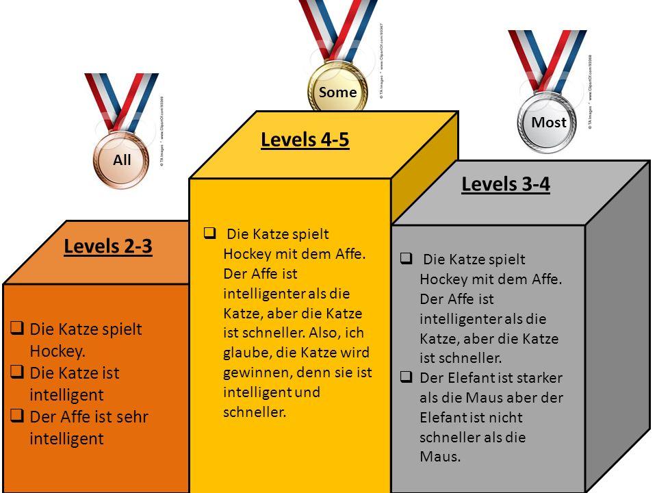 Levels 4-5 Levels 3-4 Levels 2-3 Die Katze spielt Hockey.