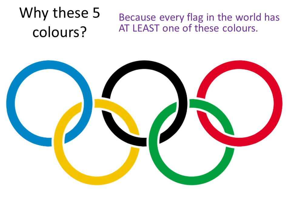 Why these 5 colours Because every flag in the world has AT LEAST one of these colours.