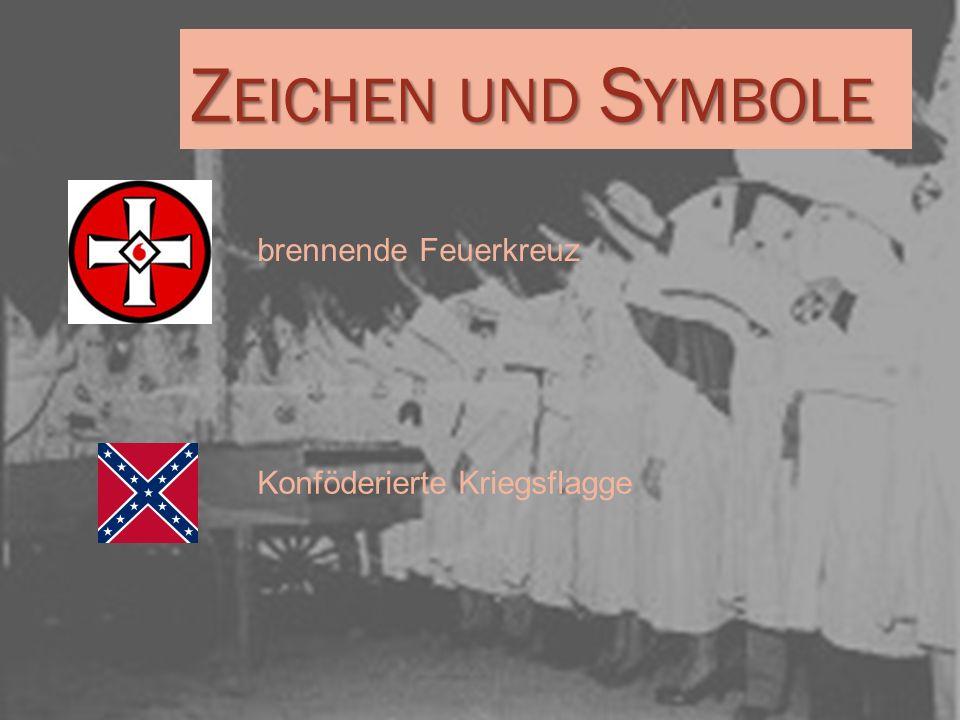 Zeichen und Symbole brennende Feuerkreuz Konföderierte Kriegsflagge