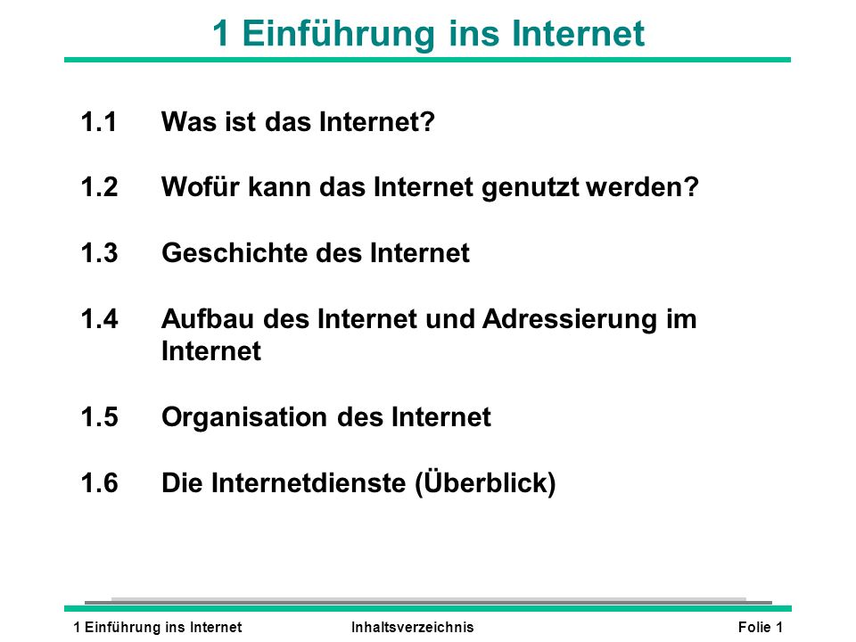 1 Einführung ins Internet
