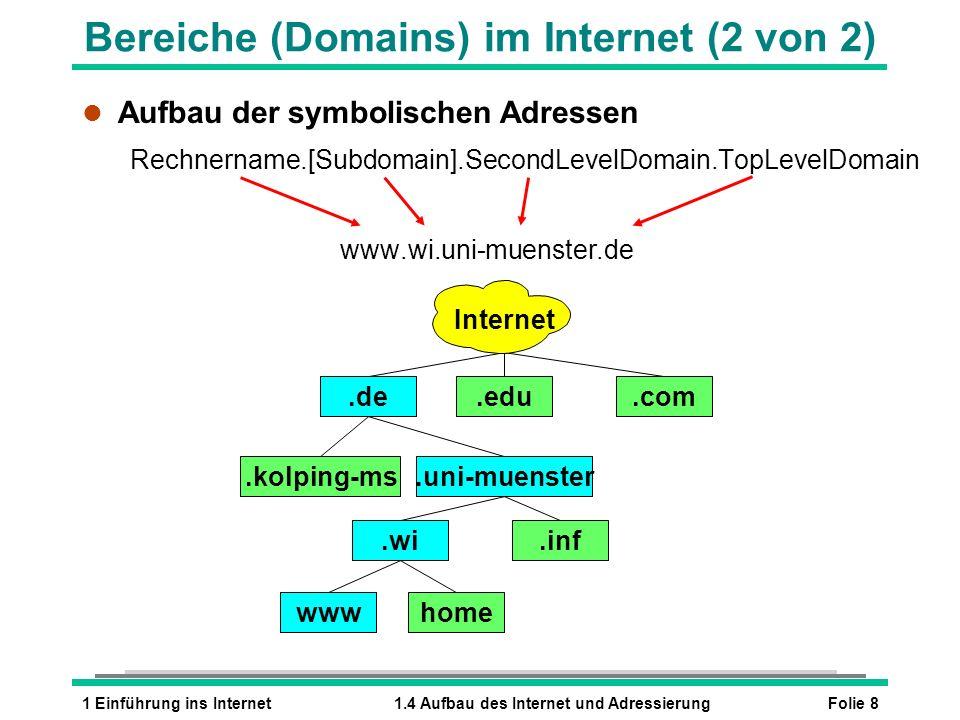 Bereiche (Domains) im Internet (2 von 2)