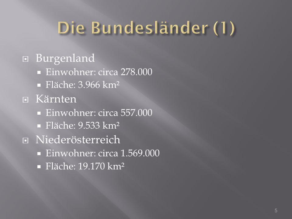 Die Bundesländer (1) Burgenland Kärnten Niederösterreich