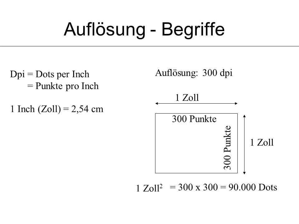 Auflösung - Begriffe Auflösung: 300 dpi Dpi = Dots per Inch