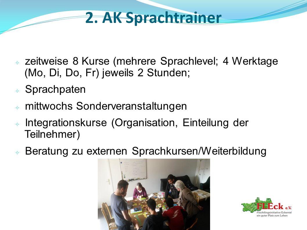 2. AK Sprachtrainer zeitweise 8 Kurse (mehrere Sprachlevel; 4 Werktage (Mo, Di, Do, Fr) jeweils 2 Stunden;