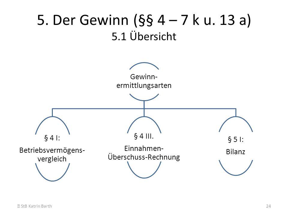 5. Der Gewinn (§§ 4 – 7 k u. 13 a) 5.1 Übersicht