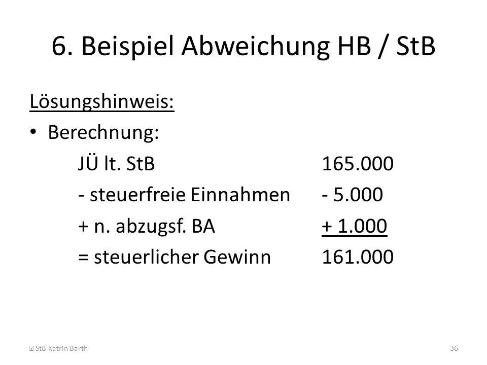 6. Beispiel Abweichung HB / StB