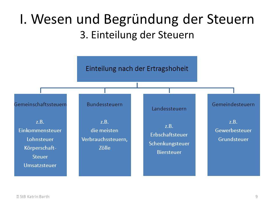 I. Wesen und Begründung der Steuern 3. Einteilung der Steuern
