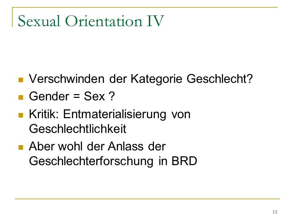 Sexual Orientation IV Verschwinden der Kategorie Geschlecht