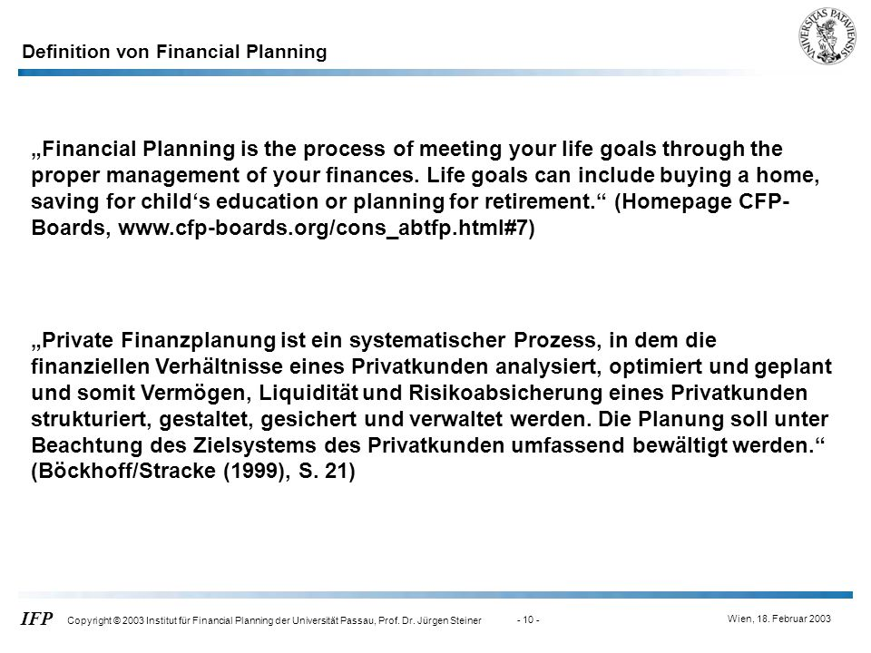 Definition von Financial Planning