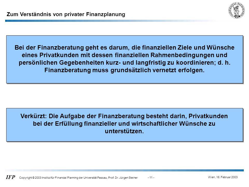 Zum Verständnis von privater Finanzplanung