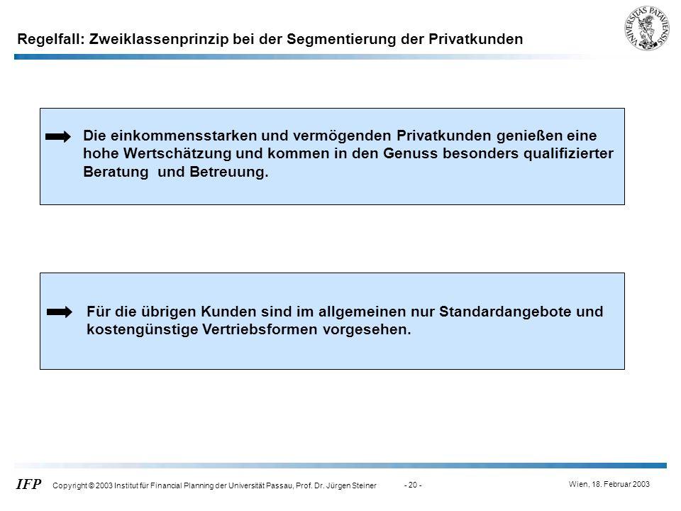 Regelfall: Zweiklassenprinzip bei der Segmentierung der Privatkunden