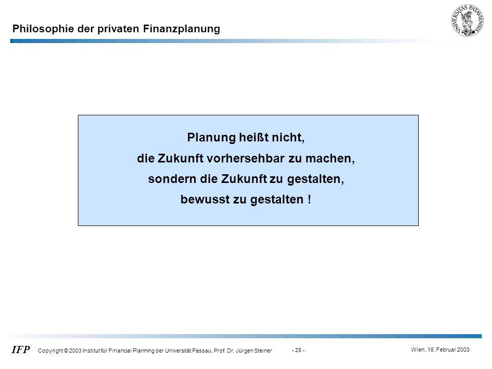 Philosophie der privaten Finanzplanung