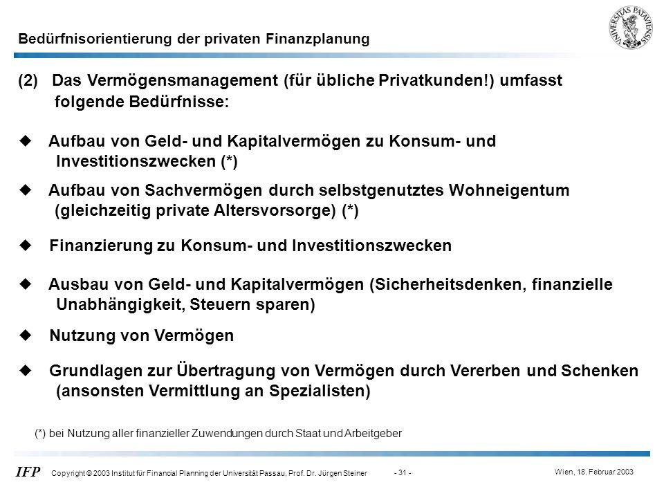 (2) Das Vermögensmanagement (für übliche Privatkunden!) umfasst