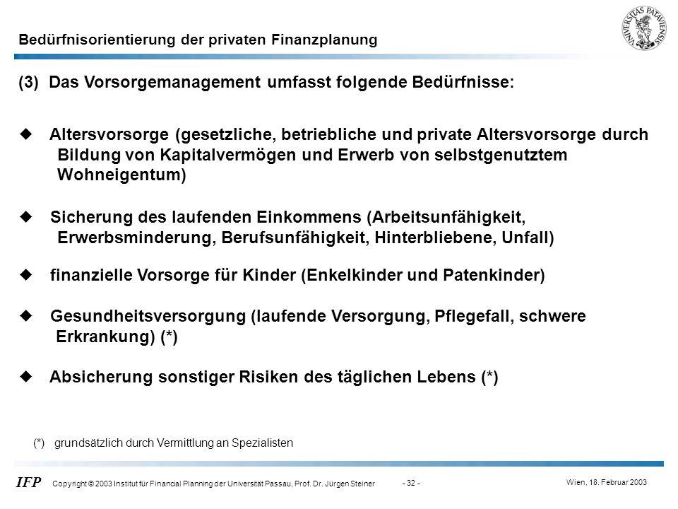 (3) Das Vorsorgemanagement umfasst folgende Bedürfnisse: