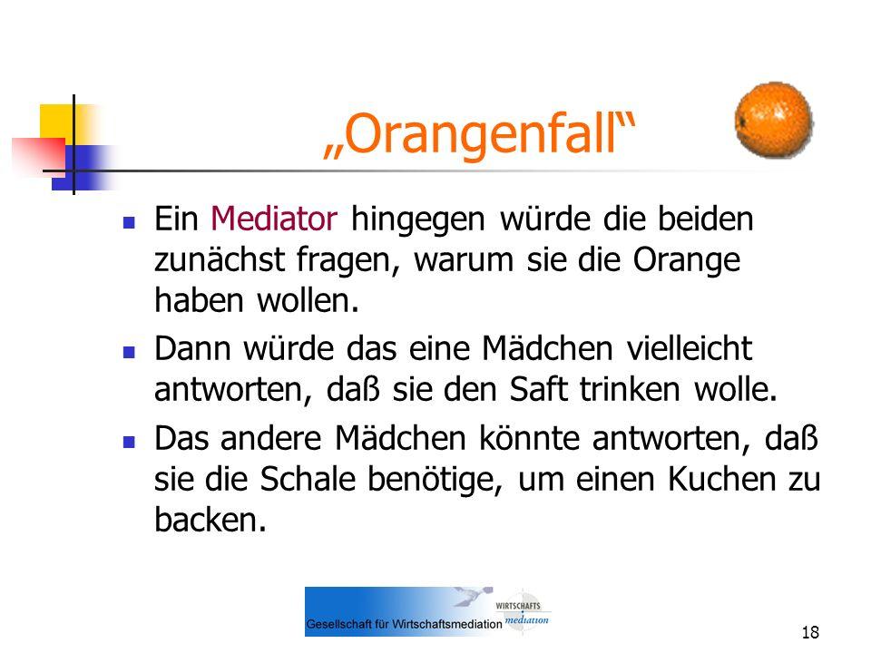 """""""Orangenfall Ein Mediator hingegen würde die beiden zunächst fragen, warum sie die Orange haben wollen."""