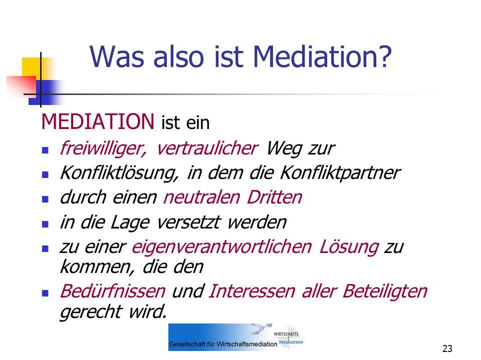 Was also ist Mediation MEDIATION ist ein