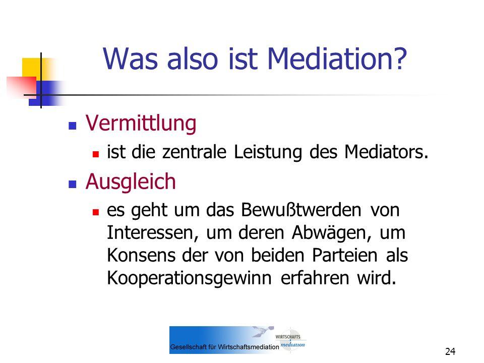 Was also ist Mediation Vermittlung Ausgleich