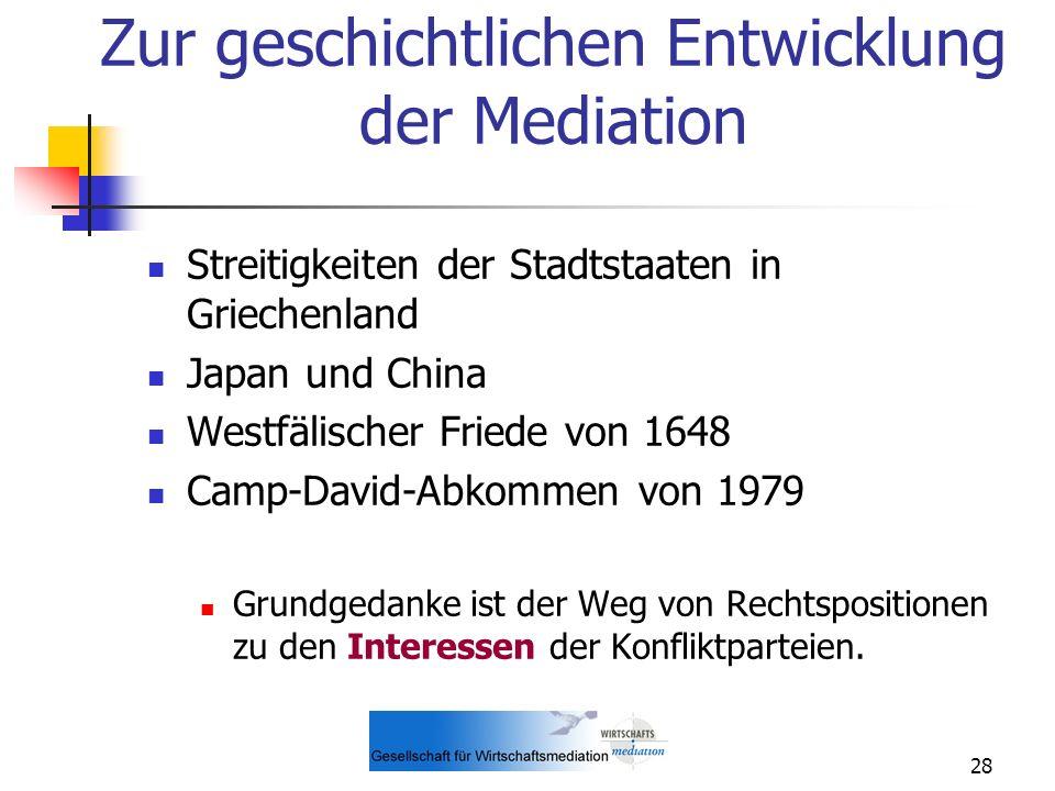 Zur geschichtlichen Entwicklung der Mediation