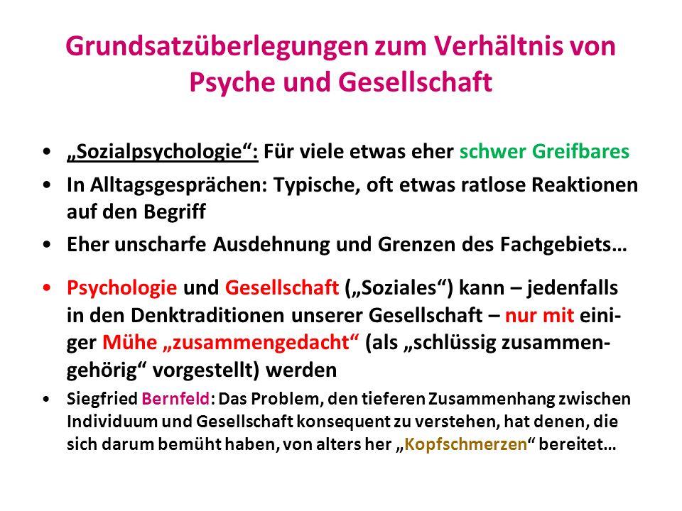 Grundsatzüberlegungen zum Verhältnis von Psyche und Gesellschaft