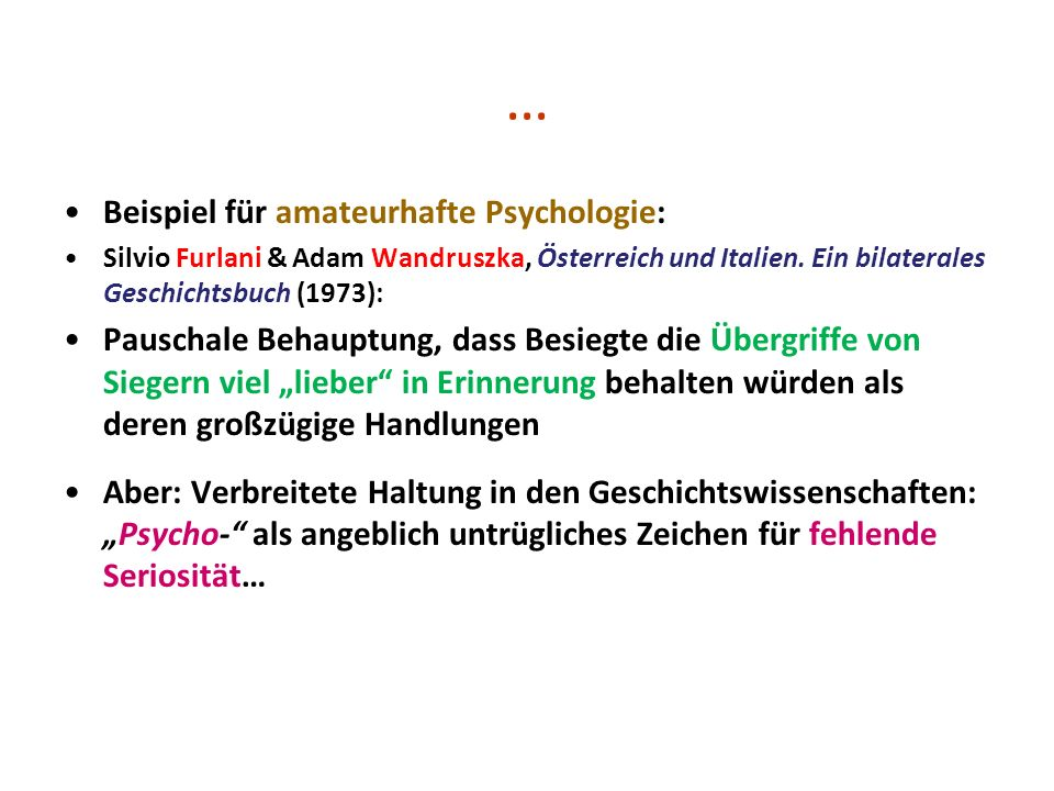 … Beispiel für amateurhafte Psychologie: