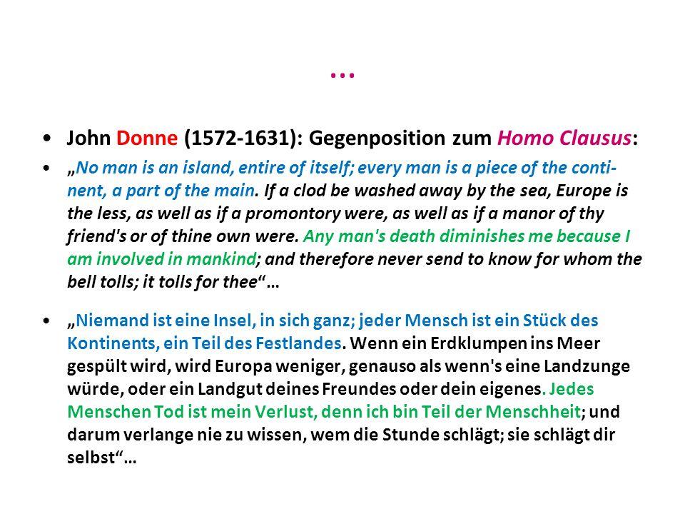 … John Donne (1572-1631): Gegenposition zum Homo Clausus: