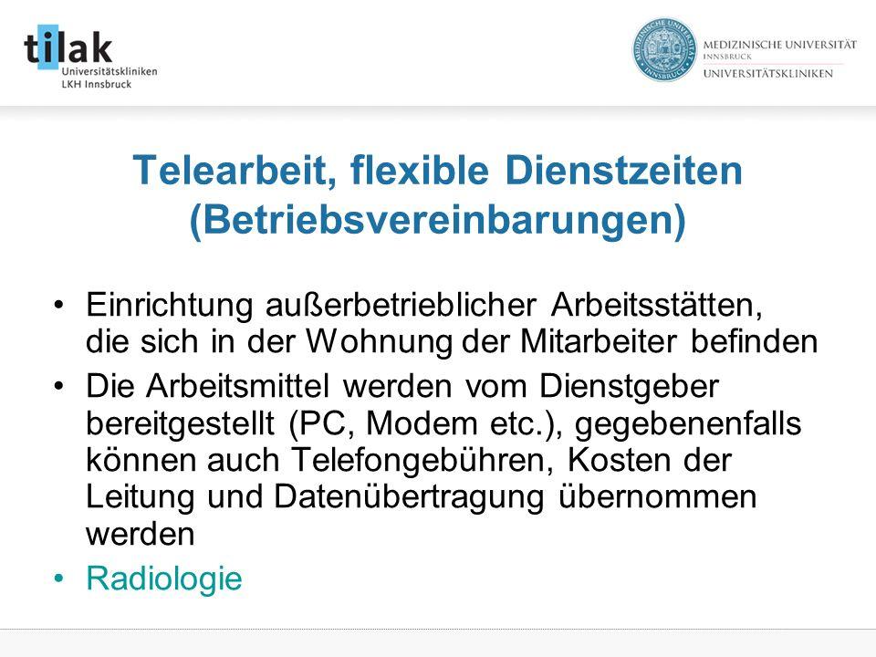 Telearbeit, flexible Dienstzeiten (Betriebsvereinbarungen)