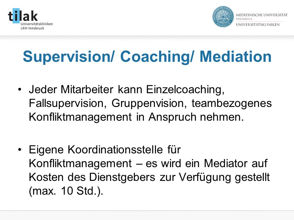 Supervision/ Coaching/ Mediation