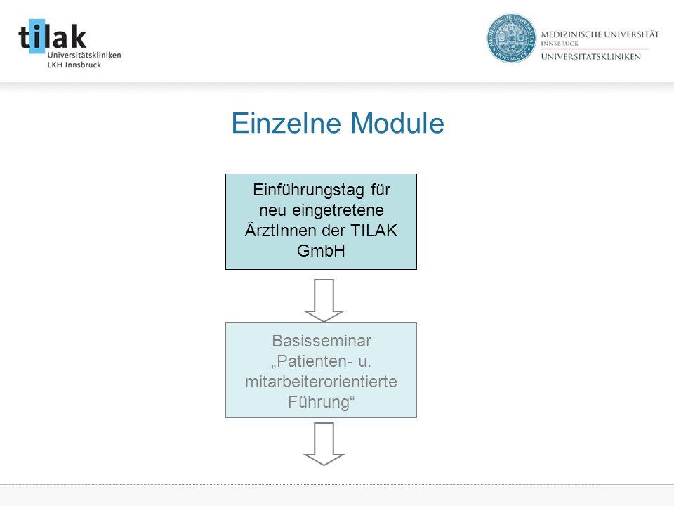 Einzelne Module Einführungstag für neu eingetretene ÄrztInnen der TILAK GmbH.
